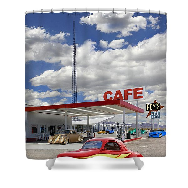 Roy's Gas Station - Route 66 Shower Curtain
