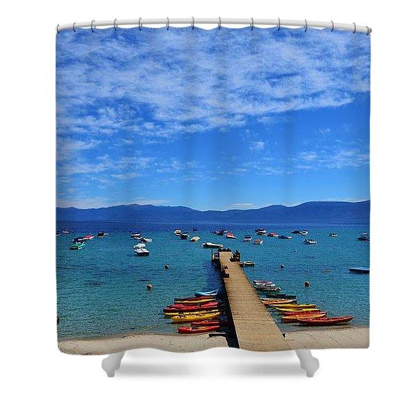 Rubicon Beach Kayak Pier Lake Tahoe Shower Curtain