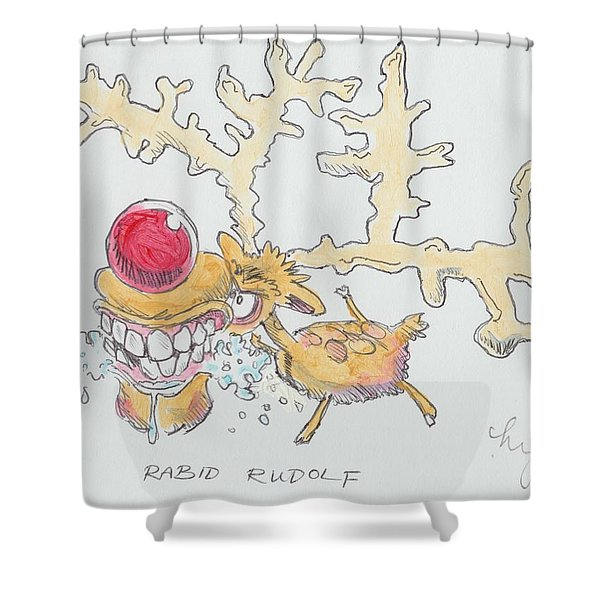 Rudolph The Reindeer Cartoon Shower Curtain