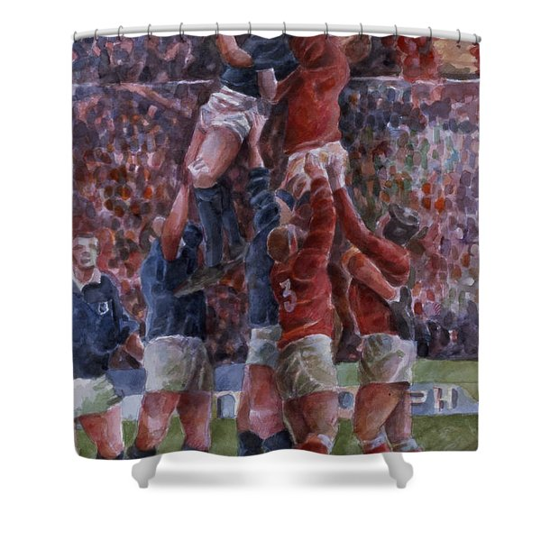 Rugby International, Wales V Scotland Wc On Paper Shower Curtain