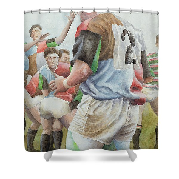 Rugby Match Harlequins V Northampton, Brian Moore At The Line Out, 1992 Wc Shower Curtain