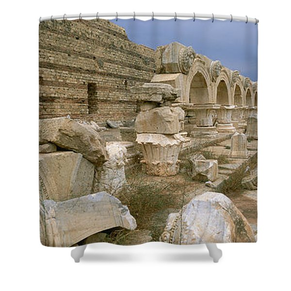 Ruins Of Ancient Roman City, Leptis Shower Curtain