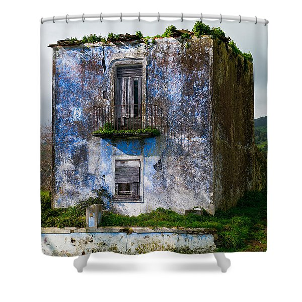 Ruins Of House Painted Blue Shower Curtain
