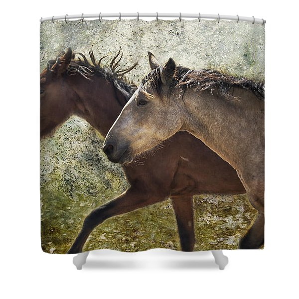 Running Free - Pryor Mustangs Shower Curtain