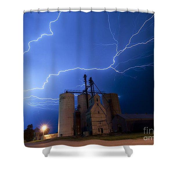 Rural Lightning Storm Shower Curtain