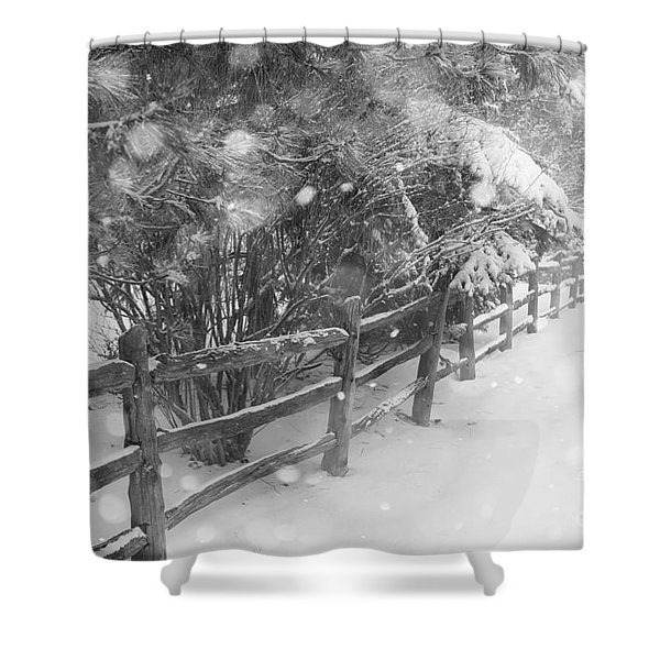 Rural Winter Scene With Fence Shower Curtain