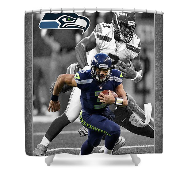 Russell Wilson Seahawks Shower Curtain