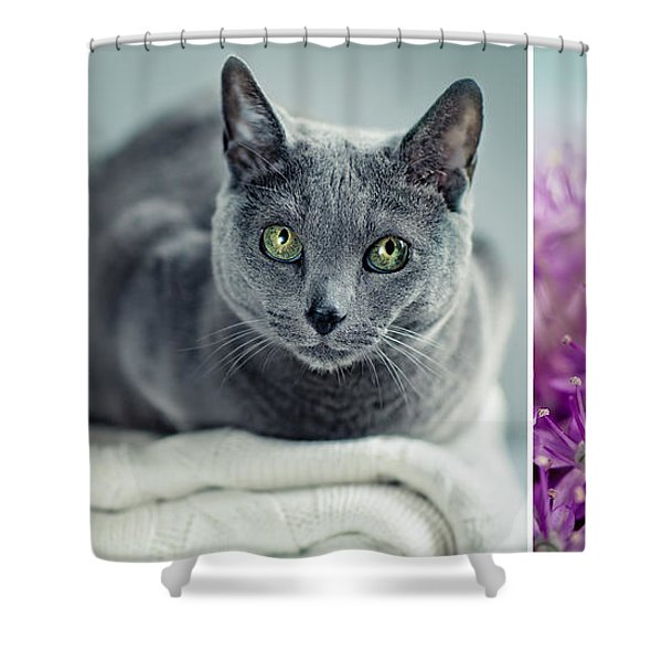 Russian Blue Collage Shower Curtain