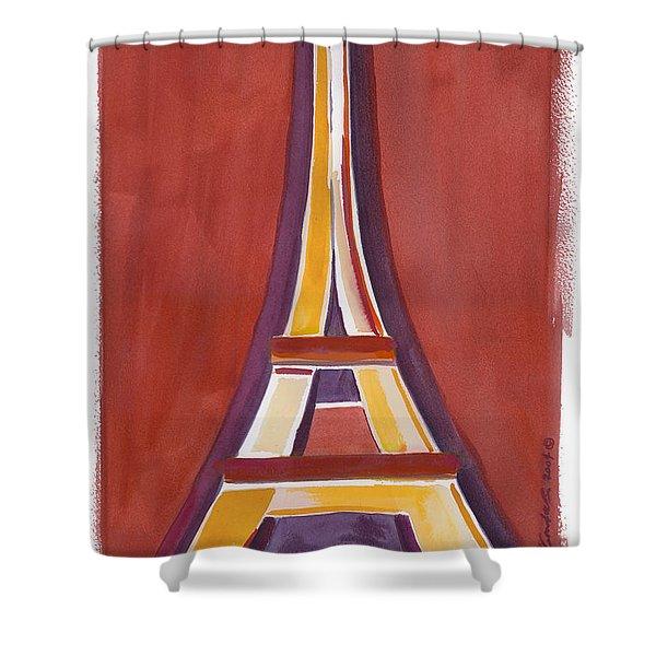 Rust Yellow Eiffel Tower Shower Curtain