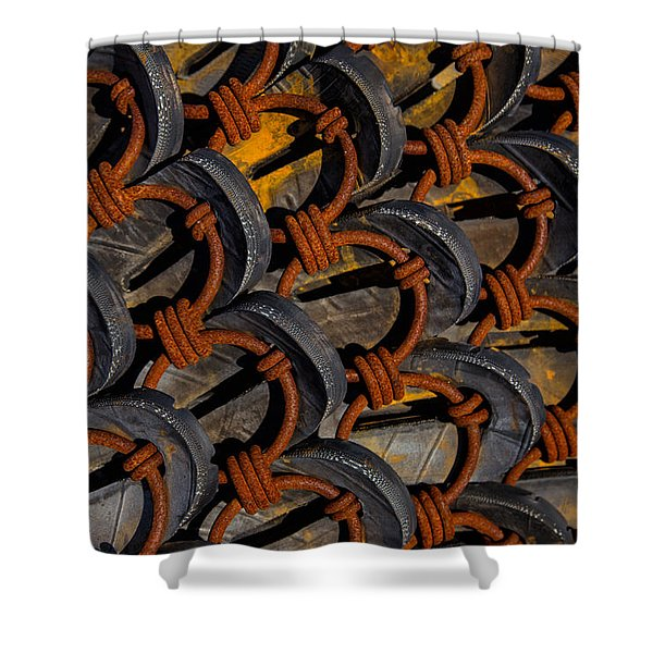 Rusted Circles Shower Curtain