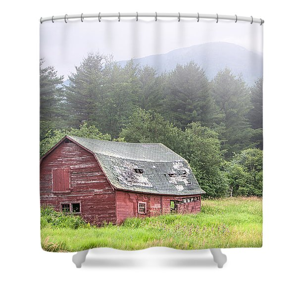 Rustic Landscape - Red Barn - Old Barn And Mountains Shower Curtain