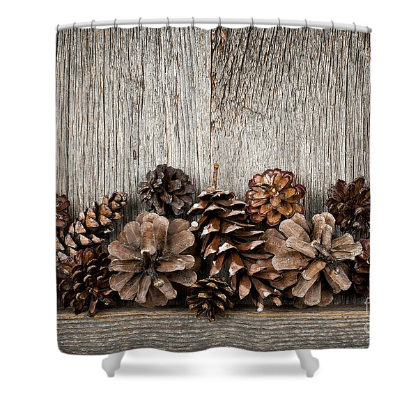 Rustic Wood With Pine Cones Shower Curtain