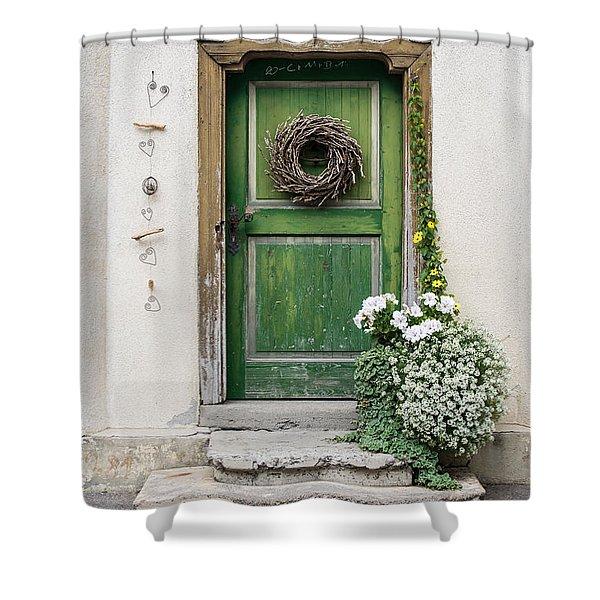 Rustic Wooden Village Door - Austria Shower Curtain