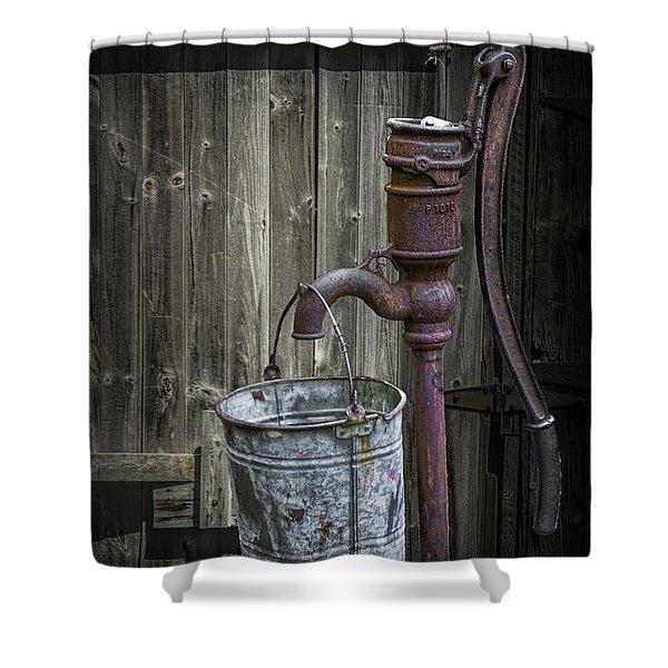 Rusty Hand Water Pump Shower Curtain