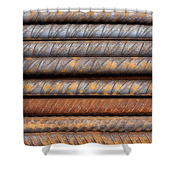 Rusty Rebar Rods Metallic Pattern Shower Curtain