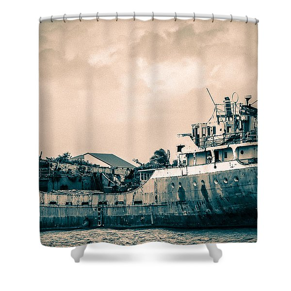 Rusty Ship Shower Curtain