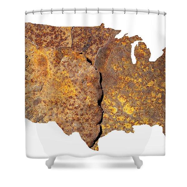 Rusty Usa Map Shower Curtain