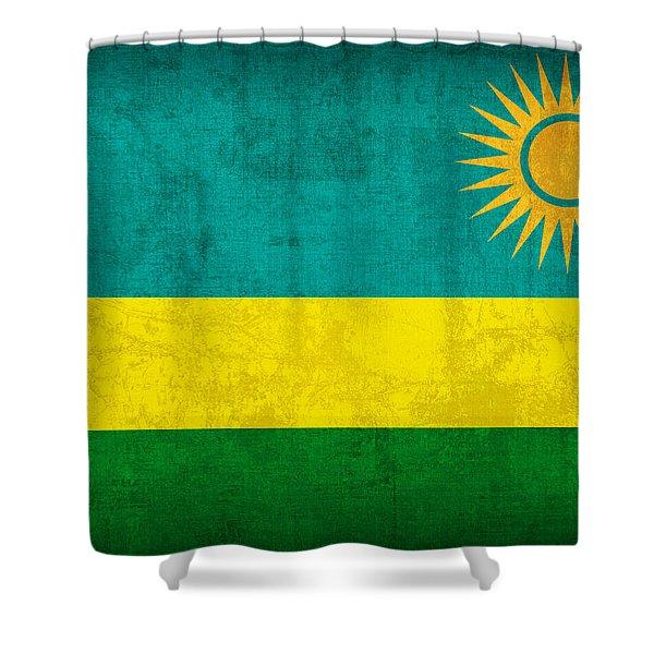 Rwanda Flag Vintage Distressed Finish Shower Curtain