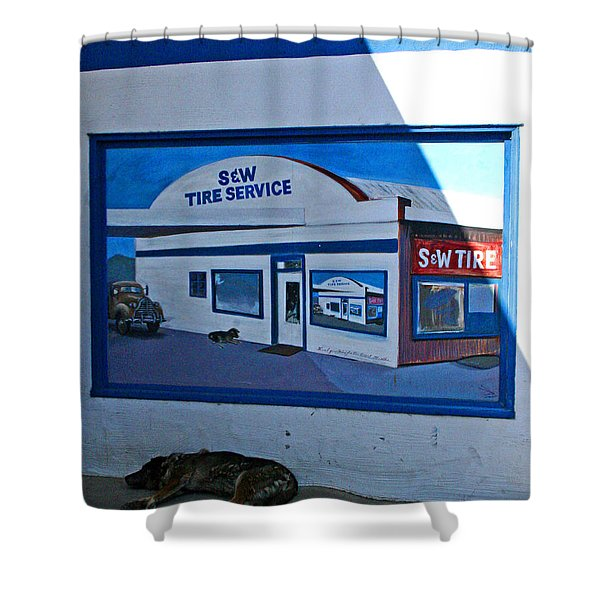 S And W Tire Service Mural Shower Curtain