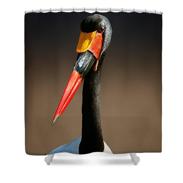 Saddle-billed Stork Portrait Shower Curtain
