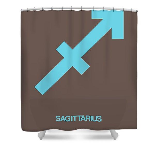 Sagittarius Zodiac Sign Blue Shower Curtain