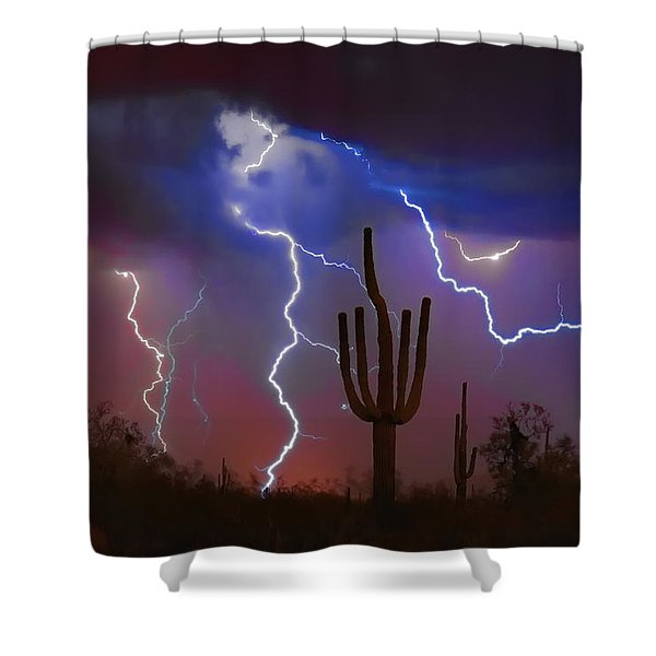 Saguaro Lightning Nature Fine Art Photograph Shower Curtain