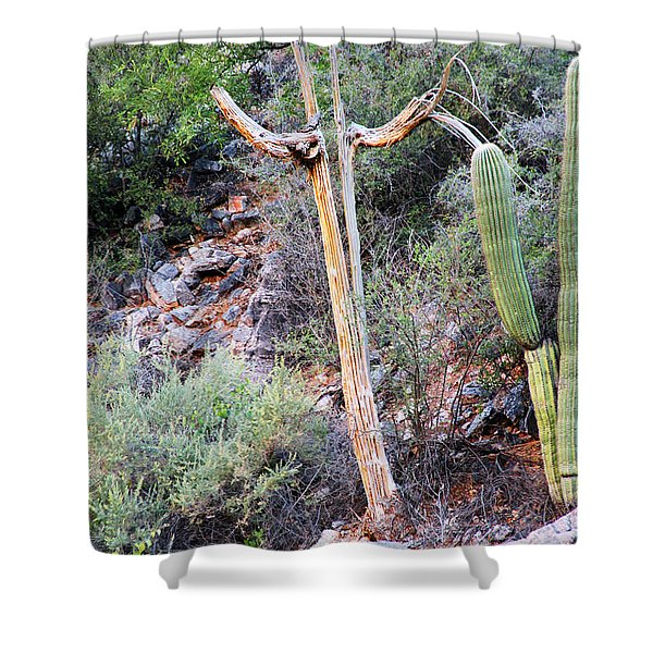 Shower Curtain featuring the photograph Saguaro Skeleton by Jemmy Archer