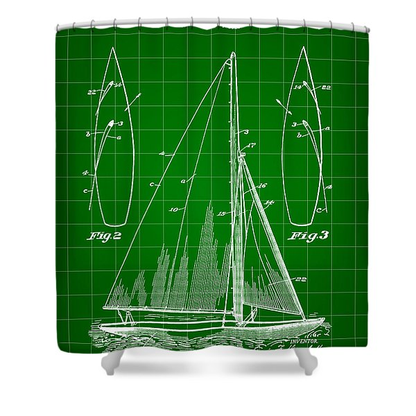 Sail Boat Patent 1925 - Green Shower Curtain