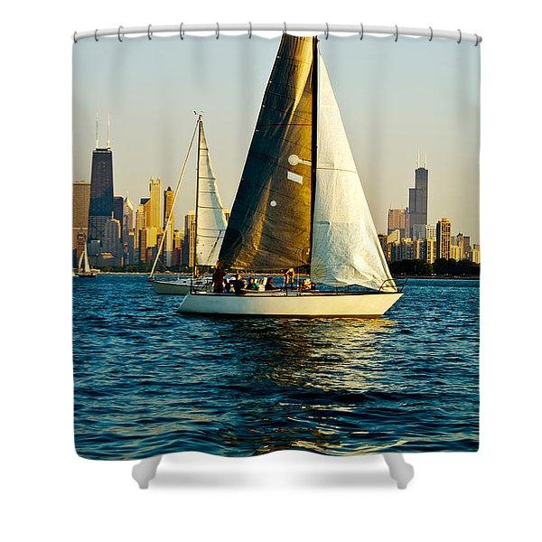 Sailboat In A Lake, Lake Michigan Shower Curtain