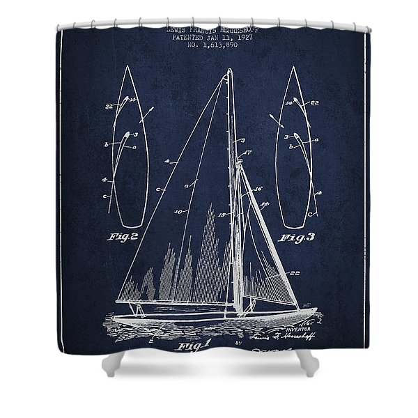 Sailboat Patent Drawing From 1927 Shower Curtain