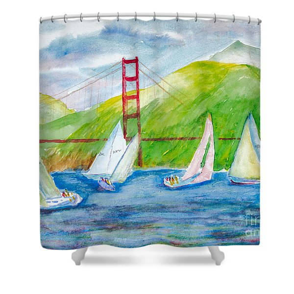 Sailboat Race At The Golden Gate Shower Curtain