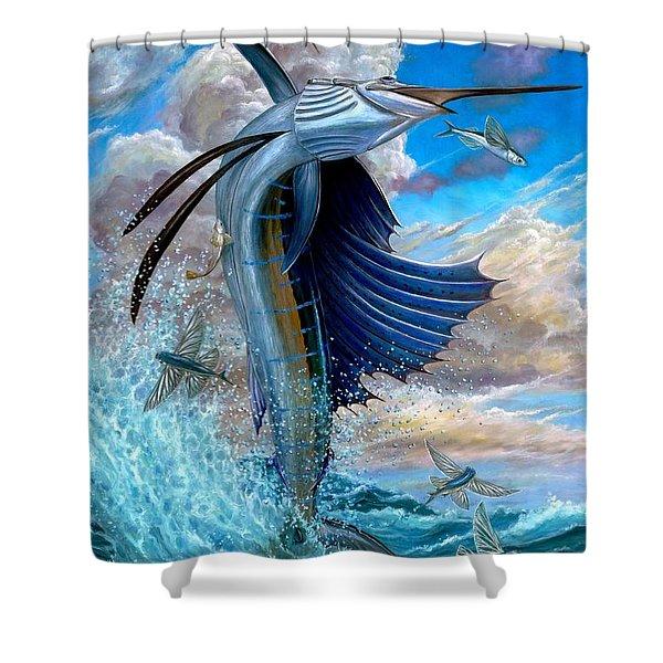 Sailfish And Flying Fish Shower Curtain