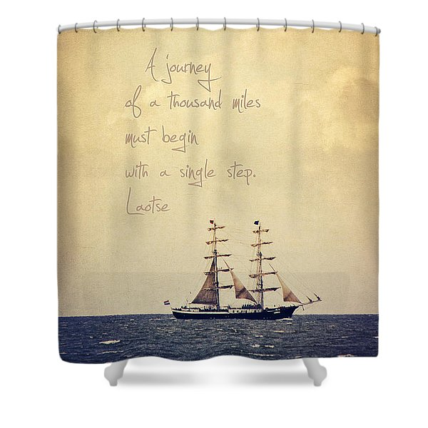 Sailing II With A Quote Shower Curtain