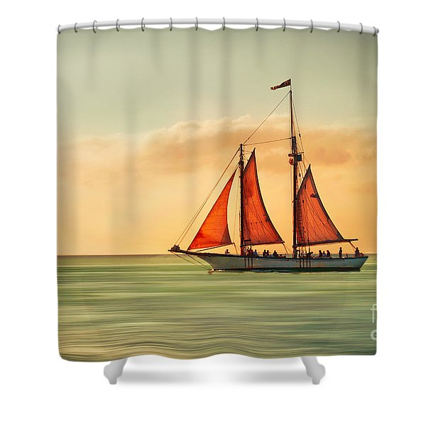 Sailing Into The Sun Shower Curtain