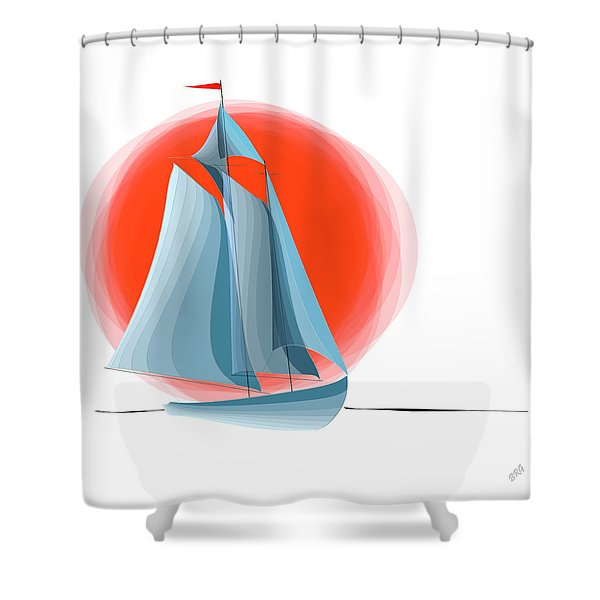 Sailing Red Sun Shower Curtain