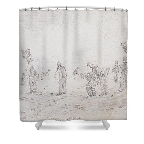 Sailors Playing At Leap Frog, From Sketches Of The Second Parry Arctic Expedition, 1821-2 Graphite Shower Curtain