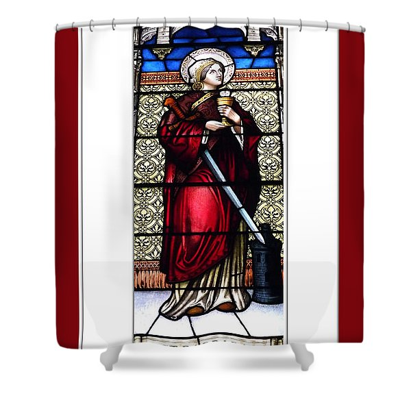 Saint Barbara Stained Glass Window Shower Curtain