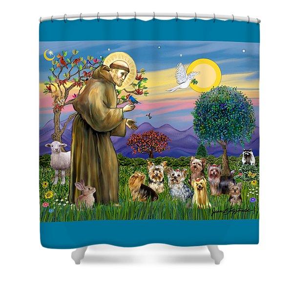 Saint Francis Blesses Seven Yorkies Shower Curtain