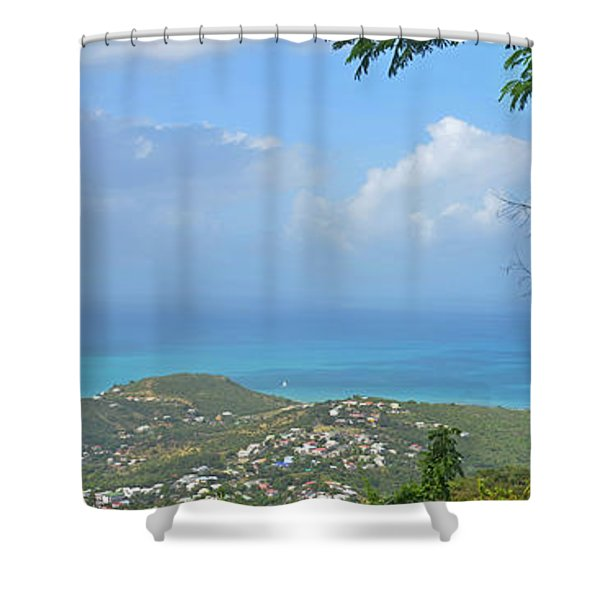 Saint Martin Panorama - Looking Down On Sint Maarten Shower Curtain