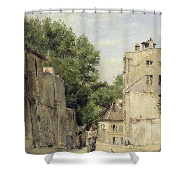 Saint-vincent Street, Montmartre Oil On Canvas Shower Curtain
