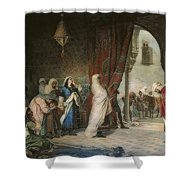 Salida Del Boabdil, At The Alhambra Oil On Canvas Shower Curtain