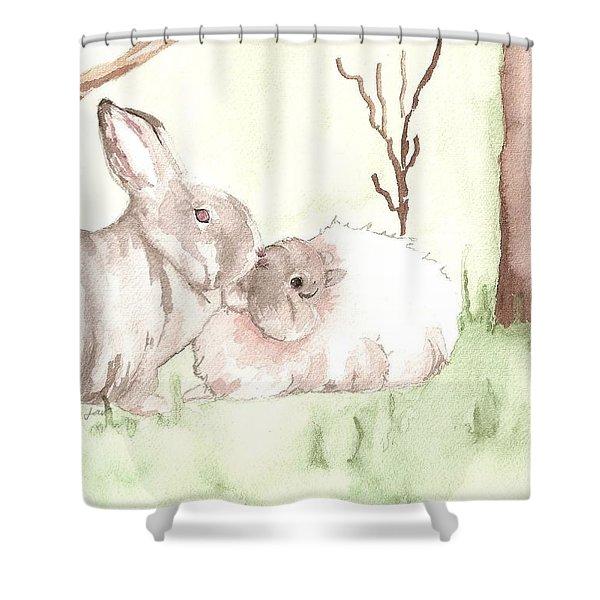Sally Ann's Bunnies Shower Curtain
