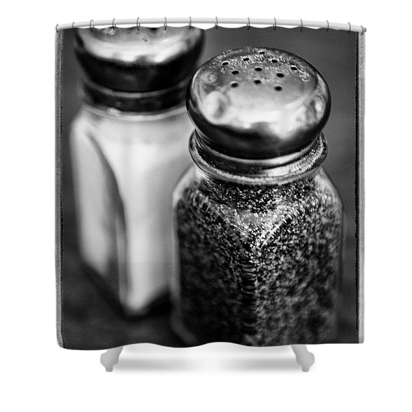 Salt And Pepper Shaker  Black And White Shower Curtain