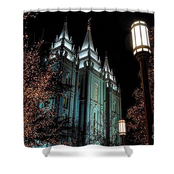 Salt Lake City Mormon Temple Christmas Lights Shower Curtain