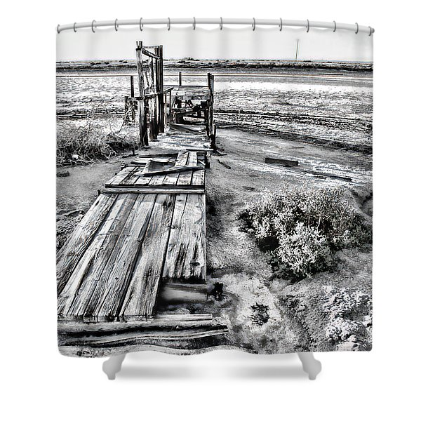 Salton Sea Dock Under Renovation By Diana Sainz Shower Curtain