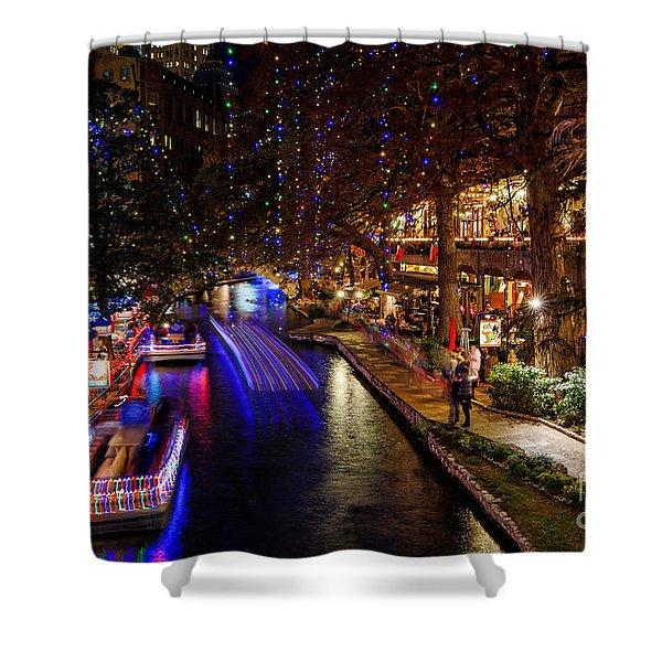 San Antonio Riverwalk During Christmas Shower Curtain