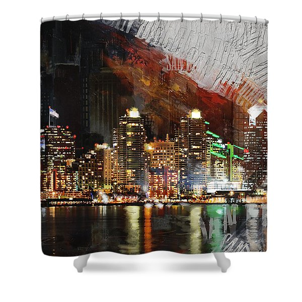 San Diego City Collage 3 Shower Curtain