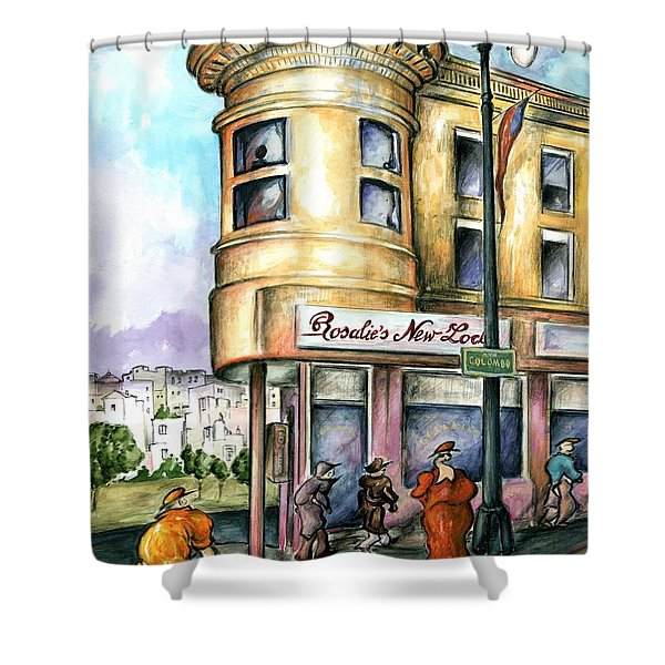 San Francisco North Beach - Watercolor Art Painting Shower Curtain