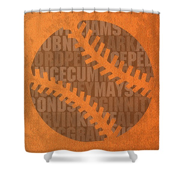 San Francisco Giants Baseball Typography Famous Player Names On Canvas Shower Curtain