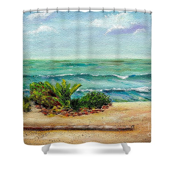 Shower Curtain featuring the painting San Onofre Beach by Mary Scott